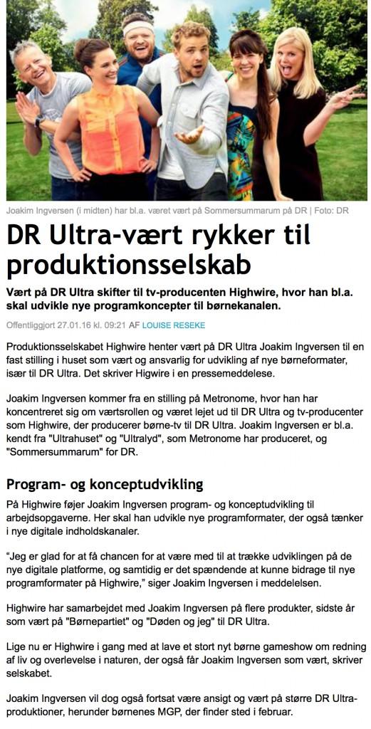 DR Ultra-vært rykker til produktionsselskab
